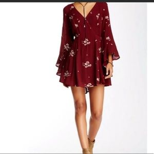 Free People Jasmine Embroidered Wrap Front Dress